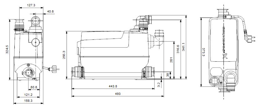 Размеры насоса Grundfos Sololift2 C-3